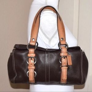 Coach Pebbled Leather Chelsea Satchel F12334 Brown
